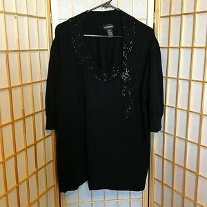 Lane Bryant Black Sweater w/Beaded Tie Size 26/28
